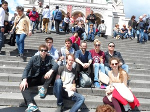 Noam and backpackers from Paris